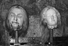 Decapitated heads of Louis XVI and Marie-Antoinette, wax and natural hair, displayed at Madame Tussaud's, London, 1995.