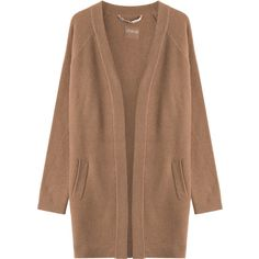 81 Hours by Dear Cashmere Mesh Knit Cashmere Cardigan ($435) ❤ liked on Polyvore featuring tops, cardigans, brown, brown knit cardigan, loose cardigan, draped open front cardigan, open front cardigan and drape cardigan