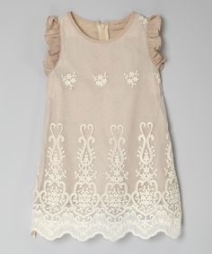 Love this Beige Lace Flutter Sleeve Dress - Toddler & Girls by Sweet Charlotte on #zulily! #zulilyfinds