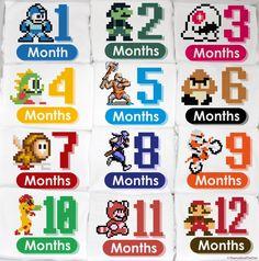 8 Bit Video Game Baby Monthly Gamer Onesie Set  by peanutandtheowl, $68.00