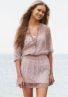 Cute, elle chiffon styled dress. Necklace is simple and could go with many outfits. $44