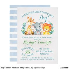 Shop Boy's Safari Animals Baby Shower Invitation created by figtreedesign. Personalize it with photos & text or purchase as is! Safari Invitations, Baby Shower Invitations For Boys, Invitation Ideas, Invitation Cards, Birthday Invitations, Invites, Oh Deer, Safari Animals, Baby Animals