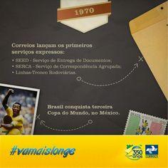 O ano de 1970 foi de grandes conquistas para o Brasil, em que a vitória da nossa seleção uniu todos os brasileiros numa grande comemoração e os novos serviços dos Correios integraram todo o País.