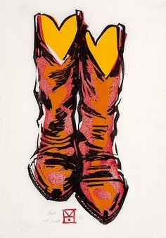 Boots - Linocut by Holly Meade 2012