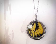 Real  Butterfly Wing Necklace  Sterling by RenataandJonathan, $95.00