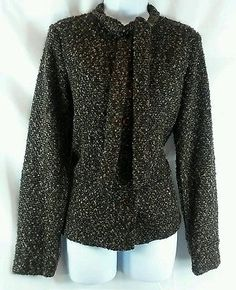 Joan Rivers NEW QVC Brown Textured Button Down Sweater Blazer Size S
