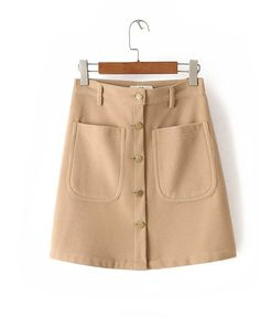 Button Front A-line Mini Skirt in Wool Mix