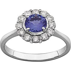 White Gold Petals tanzanite ring set with 1 round tanzanite totalling and Tanzanite Ring, Wholesale Jewelry, Fine Jewelry, Jewellery, White Gold, Bling, Engagement Rings, Stuff To Buy, Dress