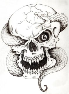 Skull And Snake Tattoo make Eye red instead of eight ball for him