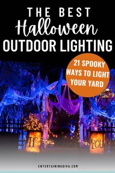 These Halloween decor ideas for outside are awesome! I love how these easy outdoor lighting can turn your yard into a cool and scary Halloween haunt. Halloween Graveyard, Spooky Halloween Decorations, Halloween Scene, Halloween Banner, Outdoor Halloween, Scary Halloween, Halloween Themes, Halloween Lighting, Halloween Party