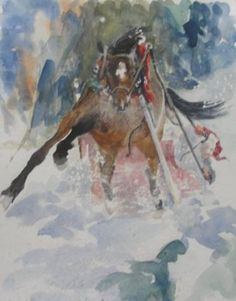 "Saatchi Art Artist Carolyn Nelson AAWA OPA; Painting, ""DASHING THROUGH THE SNOW"" #art"