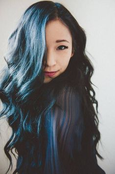 asian girl blue black hair dye
