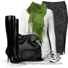 Tall boots + splash of green with scarf + black/white