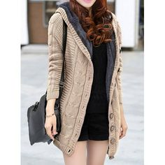 Stylish Hooded Long Sleeve Single-Breasted Flocky Knitted Women's CardiganVintage Sweaters   RoseGal.com