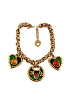 bf5504a1a1d Vintage YSL Yves Saint Laurent by Robert Goossens Enamel Heart Round Charm  Cabochon Necklace