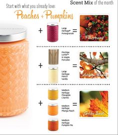 Get the perfect blend of peaches and pumpkin - Start with the base and add the additional candles. https://scentsationalwicks.mygc.com/Shop/Search?q=pumpkin