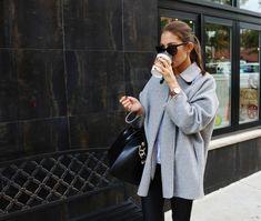 Grey coat and Givenchy bag