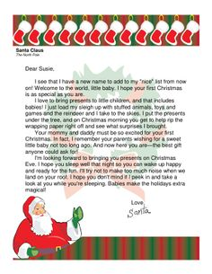 Top santa letters provides parents with a quick easy way to letter from santa for babys first christmas spiritdancerdesigns