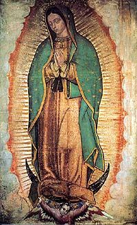 La Virgen de Guadalupe, Ayate verdadero, que se encuentra en la Basilica de Guadalupe, cerro del Tepeyac, Mexico. Aparecida al indio Juan Diego en 1531.