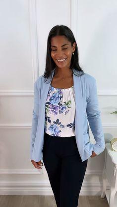 Blue blazer, pastel blazer, pastel outfit idea, blazer outfit, casual outfit, office outfit, smart casual outfit Smart Casual Outfit, Casual Outfits, Outfit Office, Pastel Outfit, Blazer Outfits, Blouse, Long Sleeve, Model, Collection