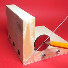 Use this handy homemade tool to accurately determine the centre of a square or circular work piece. #woodworkingtools