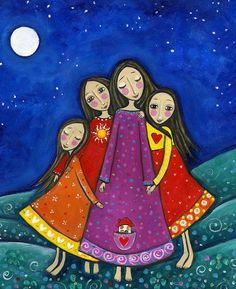 Four Sisters Print Inspirational Whimsical Folk Art Nursery Childrens Art Gift for Sister Best Friends Art 'Sisters In All Lifetimes' is part of children Art Painting - dreamseries Thanks for the visit! Four Sisters, Sisters Art, Mother And Child Painting, Children Painting, Art Children, Art Fantaisiste, Art Populaire, Naive Art, Whimsical Art