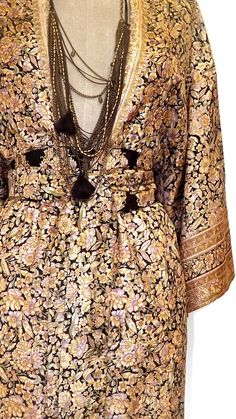 Silk Kimono sleeve Dress / Beach cover up kaftan beige by Bibiluxe