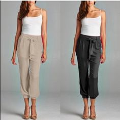 """The STACEY chiffon pants - 4 colors HPx2Chiffon pants with lining see/lining 100% poly. Super darling. Front tie. Elastic waist so stretchy. AVAILABLE TAUPE, BLACK, ROYAL BLUE & NEON CORAL. Size S - waist 13"""" - 16"""" since it stretches, hips 19"""" Size M - waist 13.5 - 16.5"""", hips 20"""" Size L - waist 15.5"""" - 17.5"""", hips 20.5"""" ‼️️NO TRADE, PRICE FIRM‼️ Pants Ankle & Cropped"""