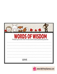 Words of Wisdom Card Printable for Woodland Baby Shower