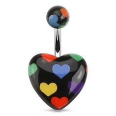 Black Multi Color Heart Shaped Belly Button Ring
