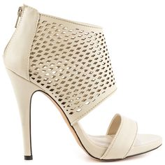 The Kediliwien will keep you on trend all spring and summer long.  This bold ALDO silhouette combines the look of a bootie with the openness of a sandal.  Wrapped in a white synthetic leather, the upper features a laser cut print and 4 1/2 inch heel.
