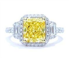 3.37 Cttw Fancy Yellow Diamond Ring