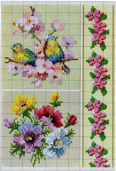 Bird flower cross stitch pattern