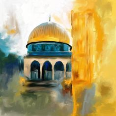Painting 691 1 Masjid-al-Aqsa by Mawra Tahreem – Filistin – Malerei Islamic Art Canvas, Islamic Paintings, Islamic Wall Art, Canvas Art, Canvas Prints, Fine Art Amerika, Palestine Art, Arabic Art, Islamic Art Calligraphy