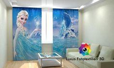 Fotogardinen Vorhänge in Luxus Fotodruck 3D.  Eiskönigin .  Maßanfertigung.