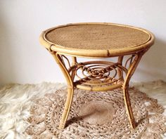1970s coffee table boho round bamboo and wicker low by VelvetEra