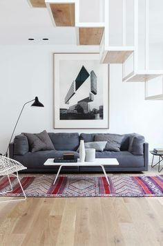 oriental rug with black and white art gray furniture - Google Search