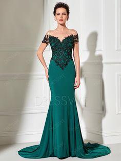 Elegant Short Sleeve Lace Applique Scoop Neck Long Mermaid Evening Dress 12695632 - Evening Dresses 2017 - Dresswe.Com