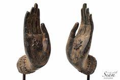 "Pair of Bronze Buddha Mudra Hand Statues. ""Abhaya Mudra"" Gesture of Protection or Fearless Mudra. Handmade in Thailand. Hand Statue, Hand Mudras, Buddha's Hand, Asian History, Art Object, Sculpting, Bronze, Hands, Thailand"