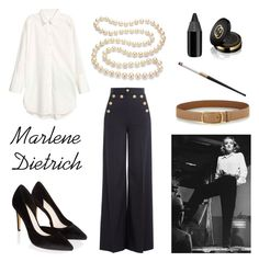 """""""Marlene Dietrich"""" by geminae ❤ liked on Polyvore featuring RED Valentino, Prada, Monsoon, DaVonna, Gucci, Urban Decay, vintage, Fall, classy and inspiration"""