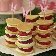 Strawberry Pancake Stacks. Fairy party food. So perfect for a little girl's birthday party