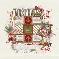 Dec. 7th - Digital Scrapbooking Ideas - DesignerDigitals Christmas dinner menu