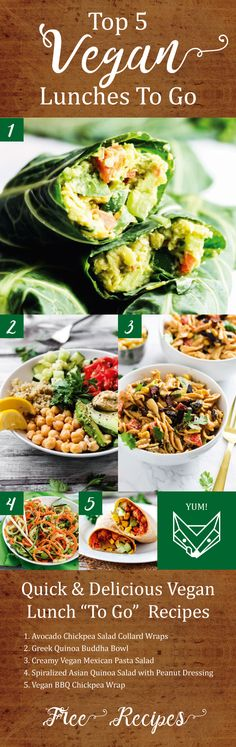 Bring some serious excitement to your next lunch break! Try our 5 most popular vegan lunch recipes to go. These meals are as delicious as they are good for you. Just sign up to get the free recipe guide!