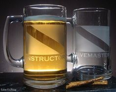 Do you have a scuba instructor in your life? You are looking at ONE etched glass beer mug. It has a Scuba Dive Flag and 'INSTRUCTOR' etched on one side. (See my other listings for the companion mug o Glass Coffee Mugs, Tea Mugs, Etched Gifts, Gifts For Scuba Divers, Dive Flag, Coffee Mug Holder, Etched Wine Glasses, Glass Candle Holders, Glass Etching