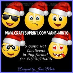 5 SANTA HAT EMOTICONS IN PNG FOR PU/CU/CU4CU by Jane Minto 5 emoticons all in individual png format at 300dpi. FOR PU/CU/CU4CU: 5 emoticons…