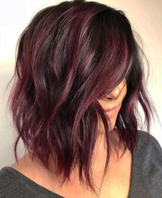 Shiny And Silky Layered Hair. Medium length layered hair styles look fabulous as they are texturized and voluminous at the same time. See our photo gallery to pick the best style. Maroon Hair Colors, Red Hair Color, Color Red, Black Cherry Hair Color, A Line Haircut, Haircut For Thick Hair, Haircut Bob, Haircut Short, Medium Length Hair With Layers