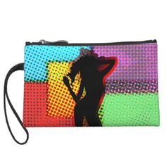 A fabulous fun and funky ladies small bag just the thing to stand out from the crowd on a night out. A retro dancing lady silhouette on a colorful halftone pop art style pattern.