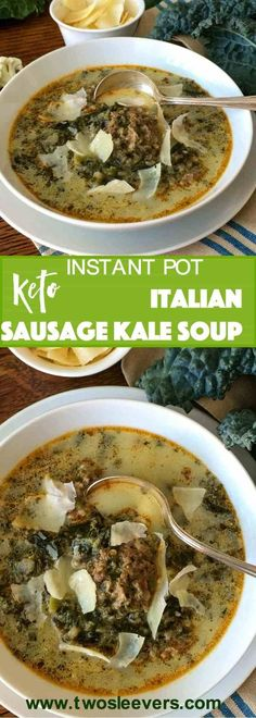 Low Carb Italian Sausage Kale Soup create a hearty, comforting low carb keto soup in your Instant Pot or Pressure cooker. Easy, delicious, freezes well.