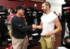 Happiness is that these two guys didn't break up afterall.  You can hate all you want on Alex Smith but the truth is he did get better this year with Harbaugh as his coach.  He just needs to lock it up a bit more when it comes to those interceptions; no more interception passes okay?! 49ers 2012 lets do it!