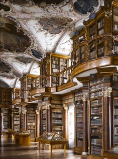 """Abbey of St Gall Library, St Gallen, Switzerland. The library has many forms of decoration, including putti in niches above the cases, representing the mechanical disciplines and the fine arts.From """"The Library: A World History"""" by Cambridge Universi Beautiful Library, Dream Library, Library Books, Magical Library, World Library, Photo Library, Old Libraries, Bookstores, Public Libraries"""
